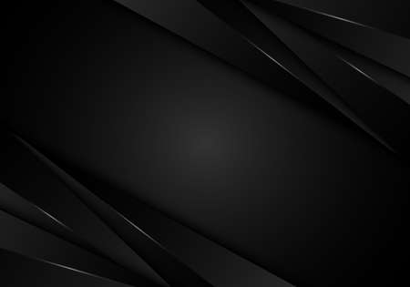 Abstract 3D modern black stripes layer with light on dark background. Vector illustration