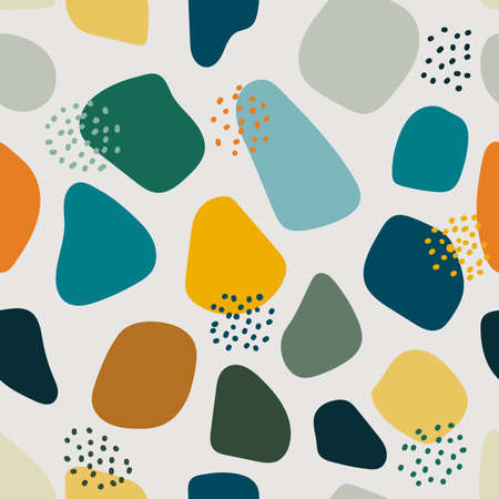 Hand drawn organic shapes seamless pattern isolated on white background. Vector illustration