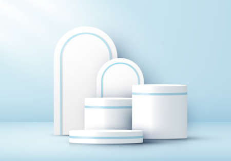 3D realistic white cylinder pedestal and rounded backdrop on blue studio room background. Geometric platform design. You can use for product display, presentation cosmetic, etc. Vector illustration