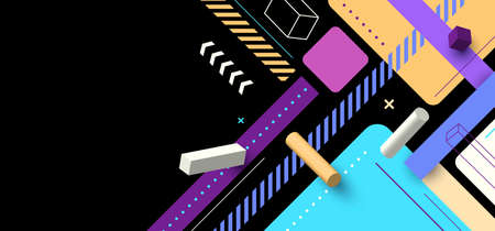 Abstract modern hipster minimal 3D geometric bright color pattern on black background. Vector illustration