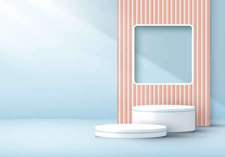 3D rendering modern white cylinder podium with window backdrop light and shadow in soft blue minimal wall scene background. You can use for product display, presentation, etc. Vector illustration Illustration