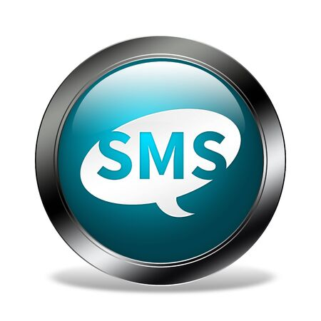 sms: sms button isolated Stock Photo