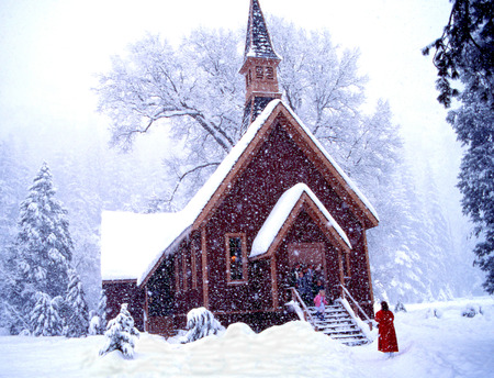 Yosemite Chapel in Snow Fall