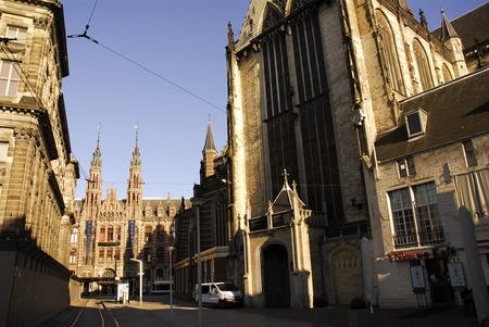 dam square: Dam Square and Old Church, Amsterdam Stock Photo
