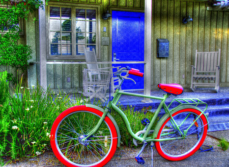napa: Green Bicycle by Green Cottage, Napa, California Editorial