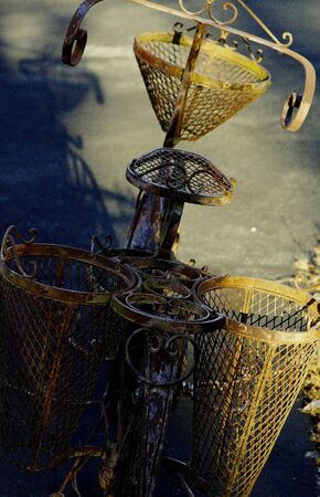 handle bars: Garden ornamental bicycle Stock Photo