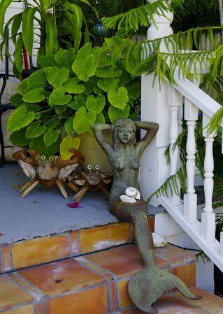 Mermaid decorating a porch Stok Fotoğraf