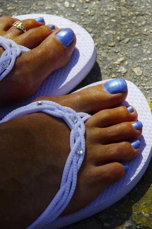 painted toes: Decorated toe nails Stock Photo