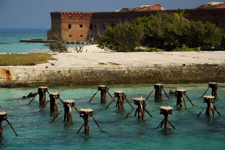 fort jefferson: Rusted docks of Fort Jefferson in the Dry Tortugas Editorial