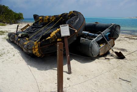 Raft gebruikt door Cubaanse vluchtelingen. Redactioneel