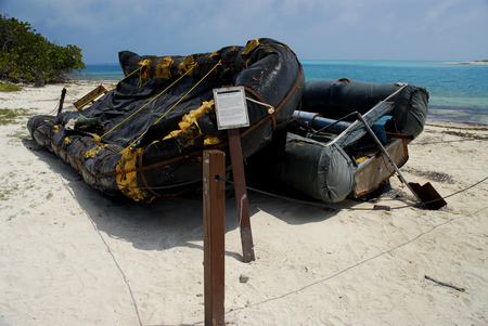 dry tortugas: Raft used by Cuban refugees.