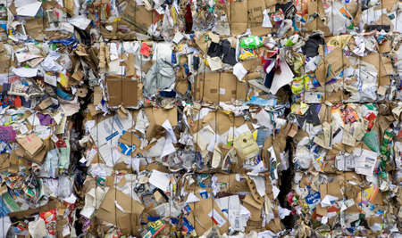 Paper waste packed to be recycled