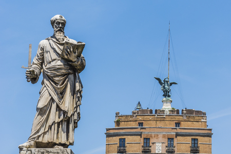 Saint Paul Statue standing in front of Castel Sant'angelo in Rome Stock Photo - 117370100
