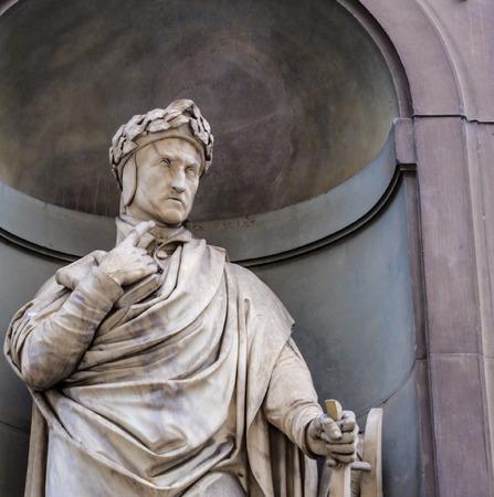 dante alighieri: detail of the statue of Dante Alighieri in  Florence