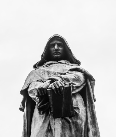 inquisition: statue of the heretic Giordano Bruno Editorial