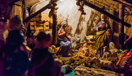 Mother Mary: Birth of Jesus in the manger in a typical italian Presepe Stock Photo