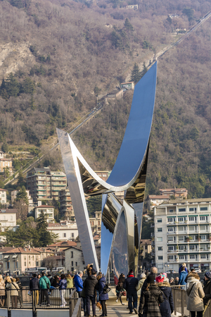 physicist: Como, Italy, january 1st 2016: Life Electric also known as The Life Electric is a contemporary sculpture, dedicated to the physicist Alessandro Volta 1745-1827.