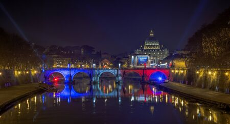 twinning: Rome, Italy, january 2016: illuminated bridge with the colors of the french flag for the 60th anniversary of the Rome - Paris twinning Paris is since April 9, 1956 exclusively and reciprocally twinned only with Rome. Only Paris is worthy of Rome; only Ro Editorial