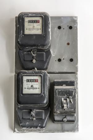 phase: vintage electric single phase counter activated in 1959 Stock Photo