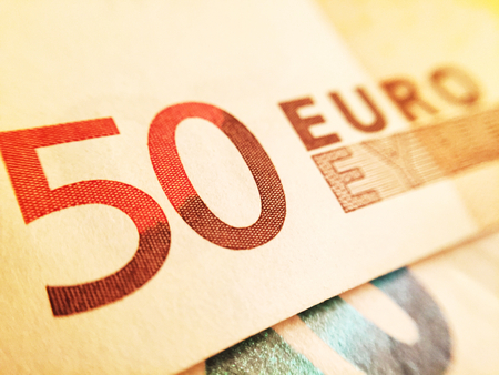 50 euro: Close up of a 50 euro banknote