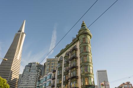 San Francisco, Ca, USA, October 22, 2016: Transamerica Pyramid The Coppola building viewed from Columbus Avenue Editorial