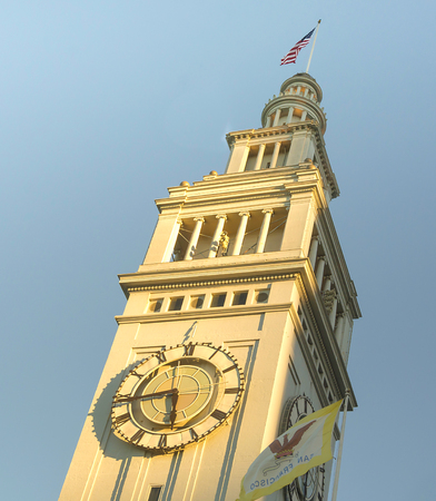 San Francisco, CA, USA, october 22, 2016; Ferry building tower at sunset 新聞圖片