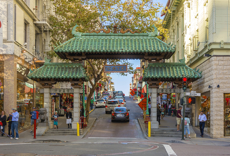 sf: San Francisco, CA, USA, october 23, 2016; The Dragon Gate in San Francisco Chinatown