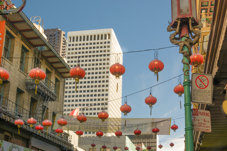 Beautiful red Chinese lanterns in Chinatown of San Francisco, California, USA