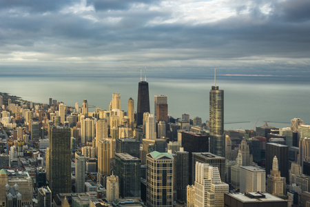 Chicago Downtown Skyline aerial view in a cloudy day