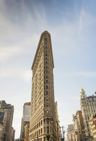 fifth avenue: New York, USA, november 4, 2016: Flat Iron building facade. Completed in 1902, it is considered to be one of the first skyscrapers ever built
