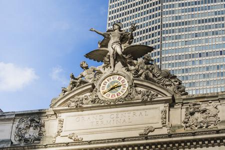 New York, USA, November 2016: Closeup horizontal view of Grand Central Terminal facade including sculpture and clock. Editorial