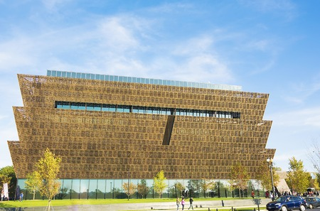 Washington DC, USA - October 2016 - Main entry canopy view of the Smithsonian National Museum of African American History and Culture NMAAHC that opened on September 24, 2016