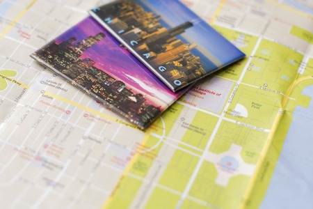 Chicago travel memories on a city map Stock Photo