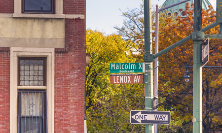 Lenox Avenue, also named Malcolm X Boulevard, both names are officially recognized, is the primary north south route through Harlem in the upper portion of the New York City borough of Manhattan. Stock Photo