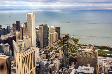 Chicago, IL, USA, october 2016: aerial view of Chicago with Jay Pritzker Pavilion and the Millennium Park in Chicago. The Pavilion hosts many concerts and events, it has capacity for 11,000 people.
