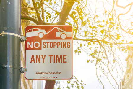 stopping: No Stopping anytime sign