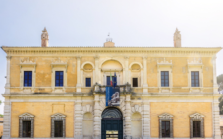 etruscan: Rome, Italy, march 25, 2017: facade of Villa Giulia, houses the Museo Nazionale Etrusco (National Etruscan Museum), big collection of Etruscan art and artifacts, in Villa Borghese gardens in Rome