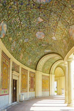 Rome, Italy, march 25, 2017: Courtyard and arcade of Villa Giulia, houses Museo Nazionale Etrusco (National Etruscan Museum), big collection of Etruscan art and artifacts, in Villa Borghese gardens in Rome city Editorial