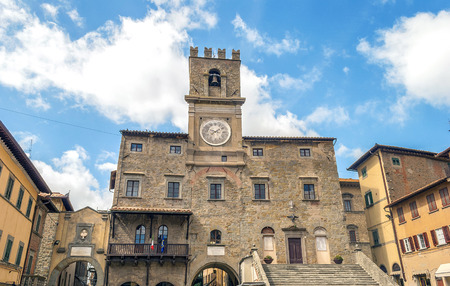 view of the town hall in the medieval city of Cortona, Tuscan , Italy Stock Photo