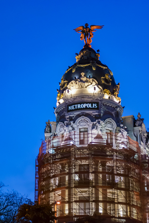 Metropolis building facade located at Gran Via in Madrid, Spain