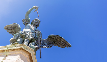 close up of the bronze angel at the top of Castel Sant Angelo in Rome, Italy Stock Photo