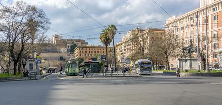 Rome, Italy, february 11, 2017: the stile umbertino Piazza Risorgimento in the historic neighbourhood of Prati in Rome