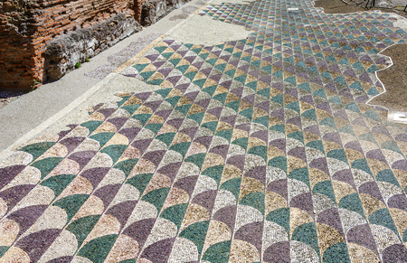 Decorated mosaic floor in the roman Caracalla Thermae Baths in Rome, Italy Imagens