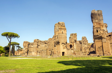 Baths of Caracalla, ancient ruins of roman public thermae built by Emperor Caracalla in Rome, Italy Stock Photo