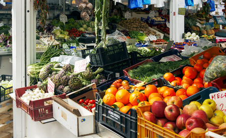 Rome, Italy, march 24, 2017: Scene at the greengrocer in the new Testaccio Neighborhood market in Rome, Italy