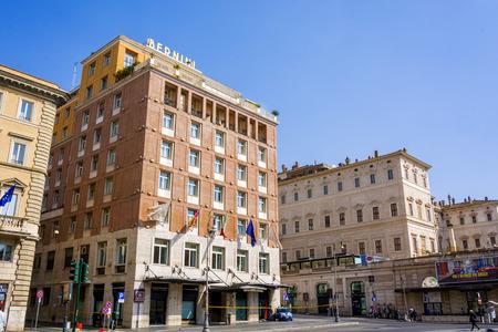 Rome, Italy, march 25, 2017: Bottom view of the Bernini Bristol Hotel located in Piazza Barberini near the famous Via Veneto in Rome, Italy