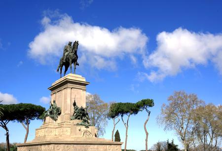 Garibaldi equestrian Monument on Janiculum Hill in Rome, Italy Stock Photo