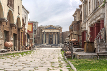 Rome, Italy, april, 1st, 2017: ancient city reproduced in fiberglass for HBO ROME tv serie at the studio Cinecitta in Rome, Italy