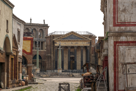 Rome, Italy, april, 1st, 2017: ancient city reproduced in fiberglass for films at the studio Cinecitta in Rome, Italy