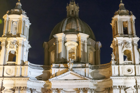 night frontal view of Saint Agnese church in Piazza Navona, Rome, Italy